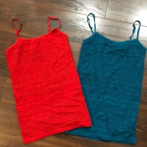 """Two Aeropostale """"Favorite"""" Lace Cami's (S)"""